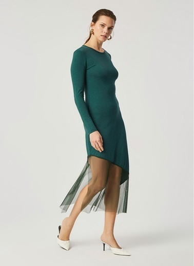 Monamoda Eteği Tül Detaylı Örme Elbise Yeşil